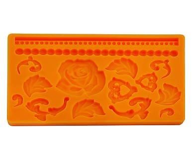 Stampo 3D in silicone Fiori e Foglie - 13x19 cm