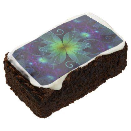 #Beautiful Blue-Green Stargazer Lily Fractal Flower Brownie - #Chocolates #Treats #chocolate