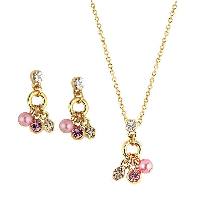 Beautifully intricate Pink Pearl and Crystal Jewellery Set $55 (AUD) | FREE Delivery*