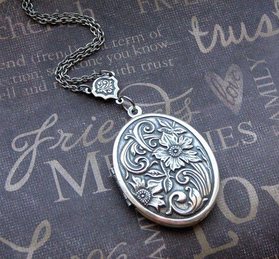 Silver Locket Necklace  Enchanted Meadow  by TheEnchantedLocket, $26.00