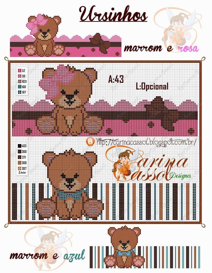 Ursos+rosa+e+marrom+e+azul+e+marrom.jpg (1241×1600)