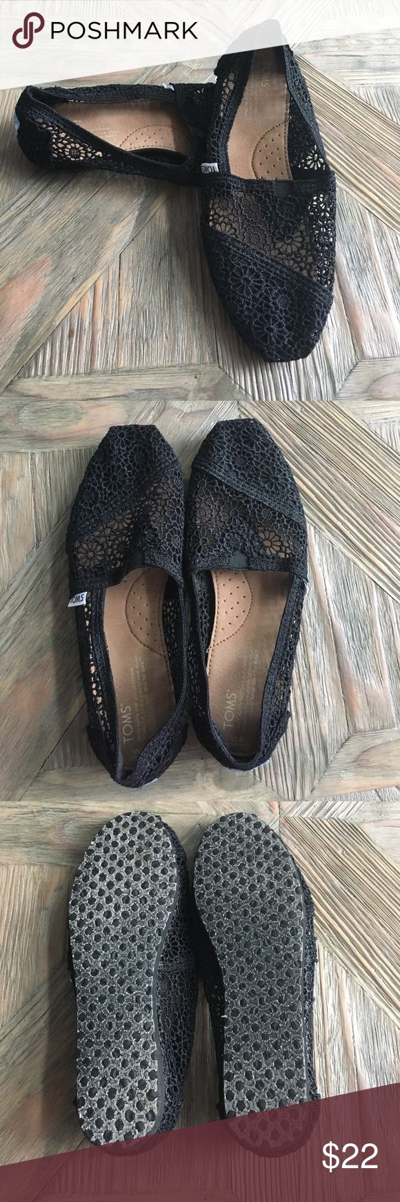 Black Lace Toms Black lace Toms. Worn maybe twice, excellent condition and super comfy! TOMS Shoes Flats & Loafers