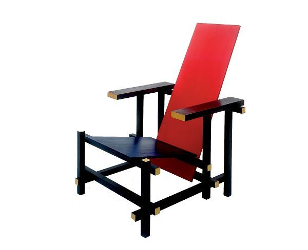Rood-blauwe stoel, ca 1918-1923, Gerrit Rietveld.  De Stijl