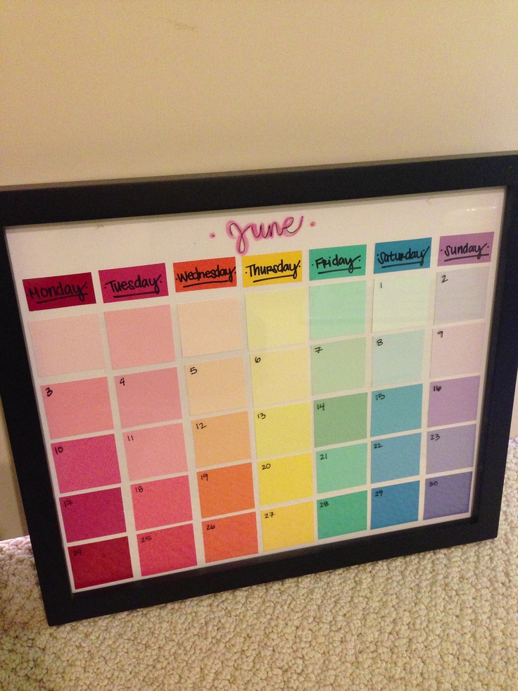 DIY paint chip calendar. This has endless possibilities and is totally customizable with size, frame, colors, etc. And way cheap. I'm in love.