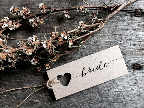 Mini Wedding place cards wedding name tags name by LaPommeEtLaPipe