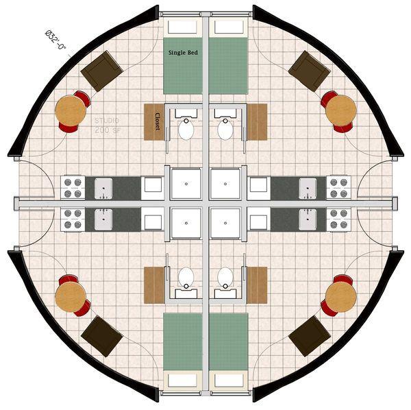 Dome floor plans monolithic dome fourplex floorplan for Prefab fourplex