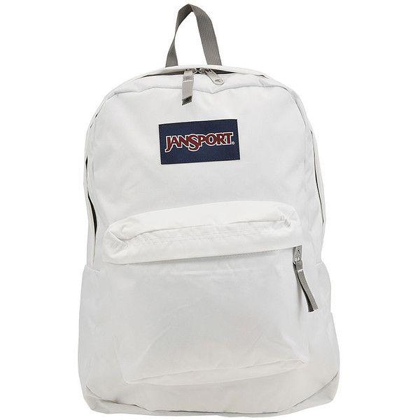 JanSport Superbreak Backpack White Bags No Size ($35) ❤ liked on Polyvore featuring bags, backpacks, white, padded bag, knapsack bag, jansport daypack, handle bag and padded backpack