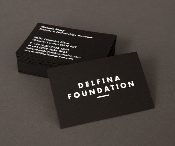 Delfina Foundation black board business card with white foil print finish designed by Spin