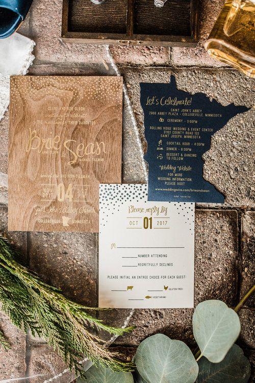 Gold Foil on Wood Wedding Invitation