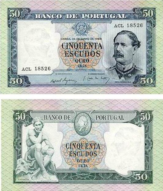 Portugal - 50 escudos – Fontes Pereira de Melo Entrada em circulação: 05-05-1961 Retirada de circulação: 31-12-1978