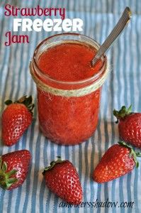Easy recipe and tutorial for Homemade Freezer Jam.  Make some up when the berries are in season to enjoy all year long as well as for gifts.  www.amothersshadow.comJam Recipe, Mothers Shadows, Amothersshadow Com, Freezer Jam, Strawberries Jam, Homemade Freezers, Strawberries Freezers, Fresh Fruit, Freezers Jam