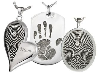 Fingerprint Cremation Jewelry and Thumbprint Memorial Jewelry. Choose from fingerprint cremation jewelry that house ashes or thumbprint memorial jewelry.
