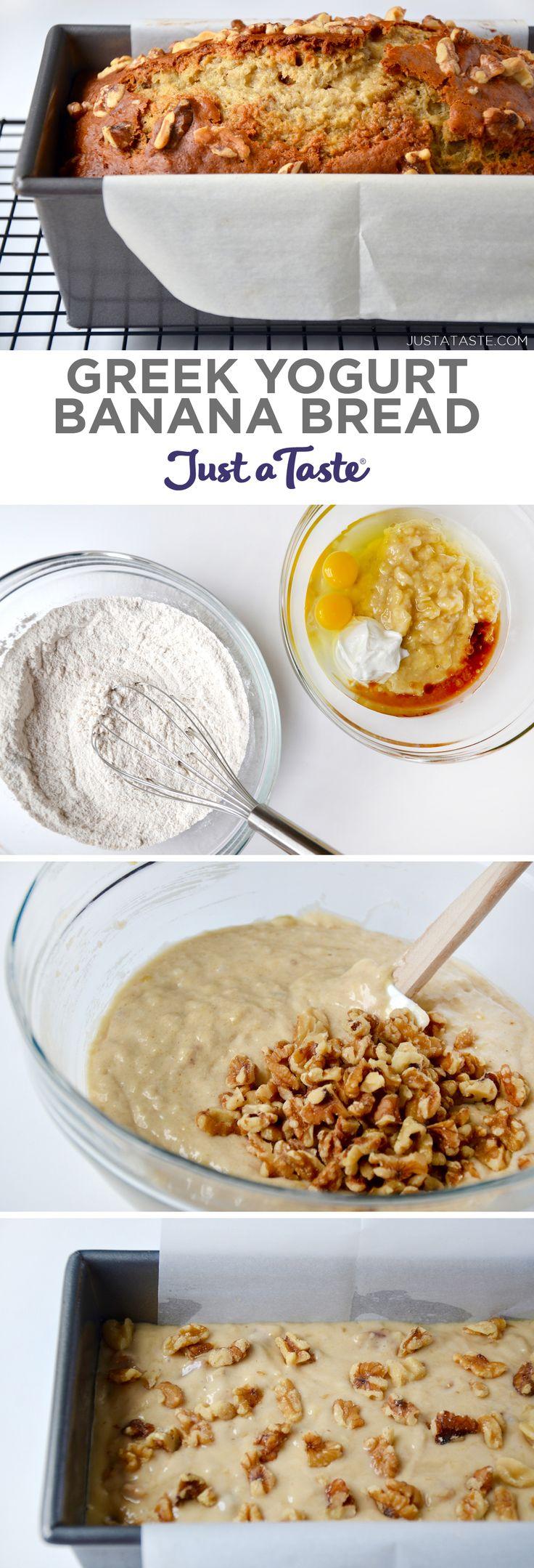 Greek Yogurt Banana Bread recipe from justataste.com #healthy #recipe