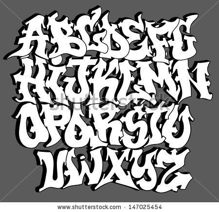 Graffiti font alphabet letters. Hip hop type grafitti ...