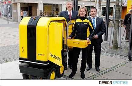 Self-propelled electric robot to follow mail carriers automatically and carry their mail items  Designer: Felix Stark Manufacturer: Deutsche Post AG