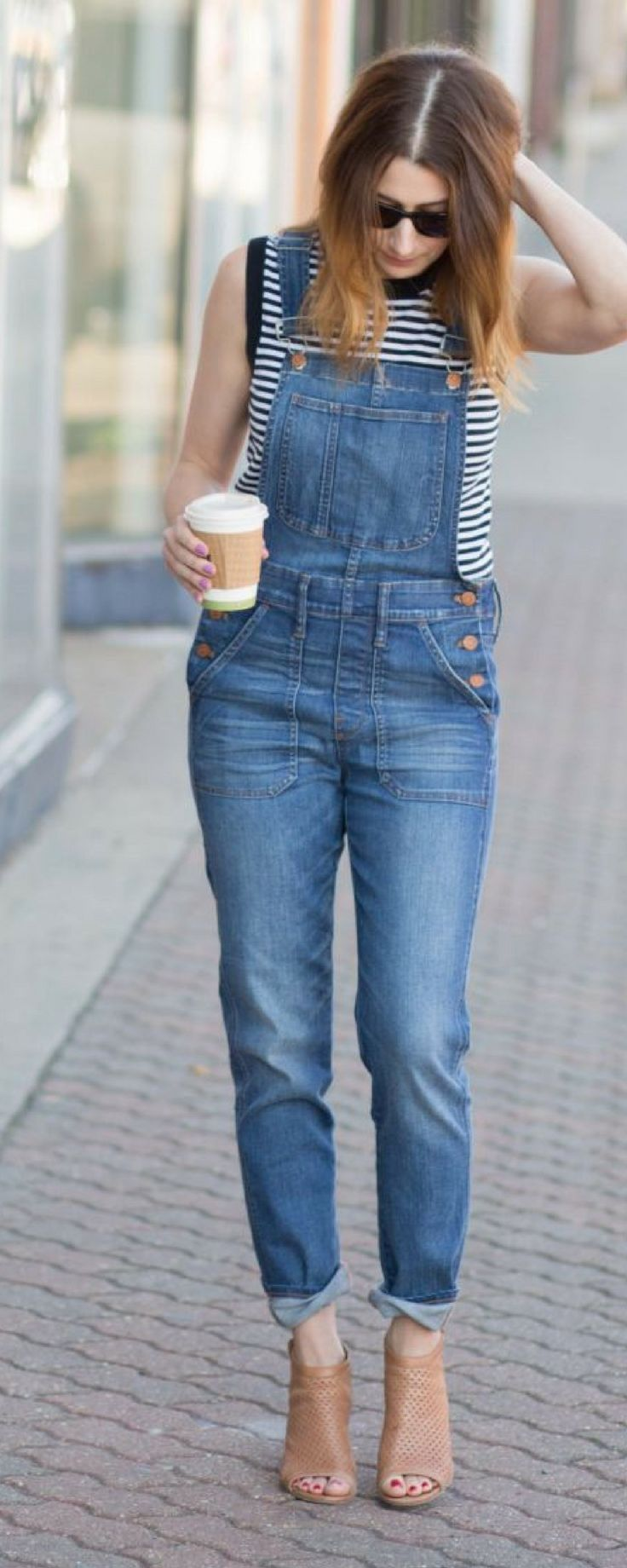 how to style casual denim overalls
