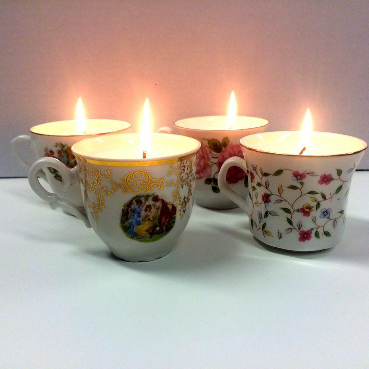 Maak je eigen kaars in een kopje. Deze set bestaat uit drie brocante koffie- of theekopjes, waxparels en kaarslonten.