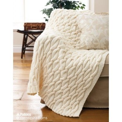Free Intermediate Knit Blanket Pattern | Patons | Yarnspirations | Free Pattern