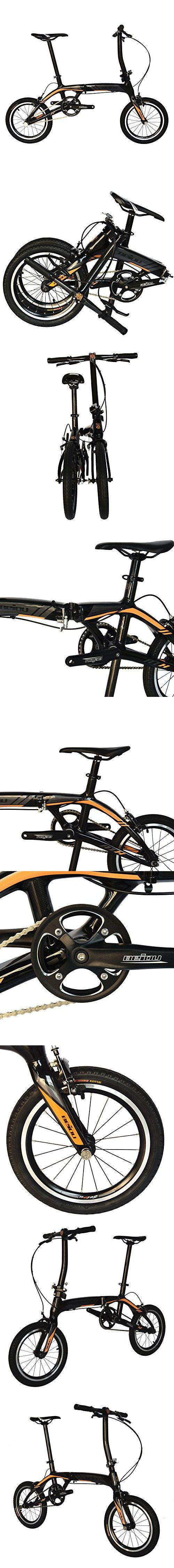BEIOU Sports Ultra Full Carbon Speed Folding Bicycle Superlight Urban Bike 16.8lb Downtown bikes Fold down to small package for sedans, hatchbacks, minivans MPV and SUV 14Inch/16Inch CB026 (16-Inch)