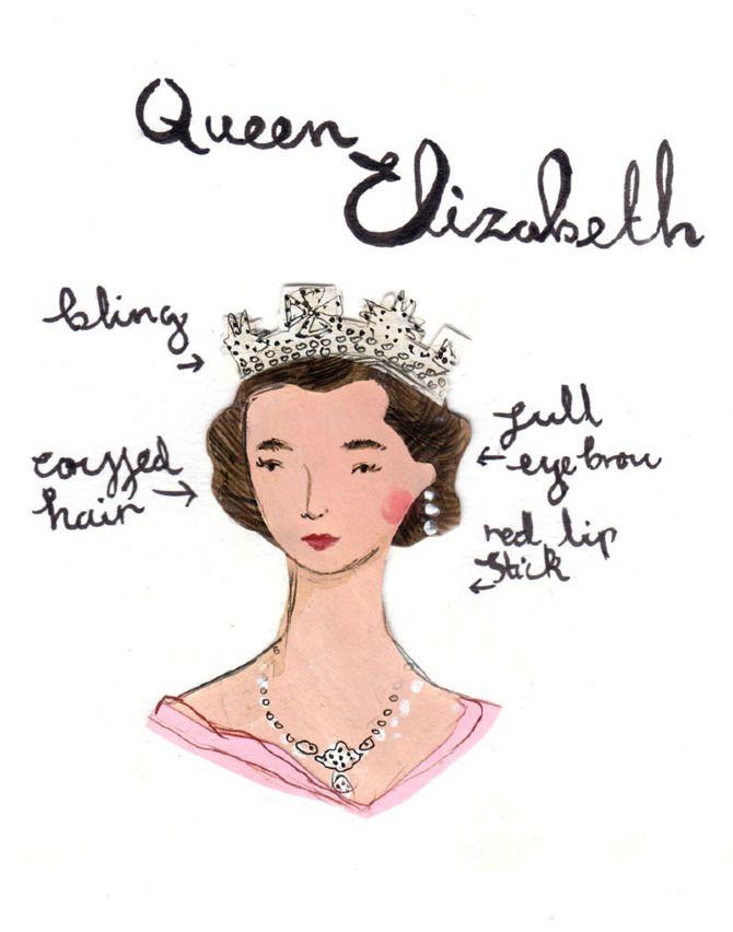 illustracion-queen elizabeth ii style icon