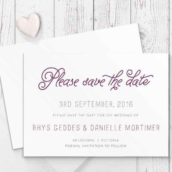 Purple Berry Whimsical Wedding Save The Date Card   Luxury Double Sided Cardstock   Peach Perfect Australia