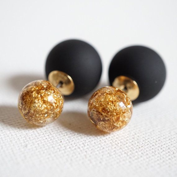 Double Side earrings, two round beads. Front stud has gold foil inside and back bead is opaque black. Perfect statement for any season. Attract a lot of