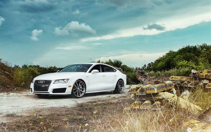 Audi A7 Sportback, offroad, german cars, white a7, Audi