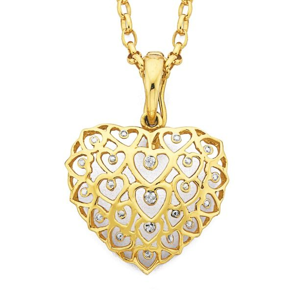 9ct Gold Diamond Multi Hearts in a Heart Enhancer Pendant