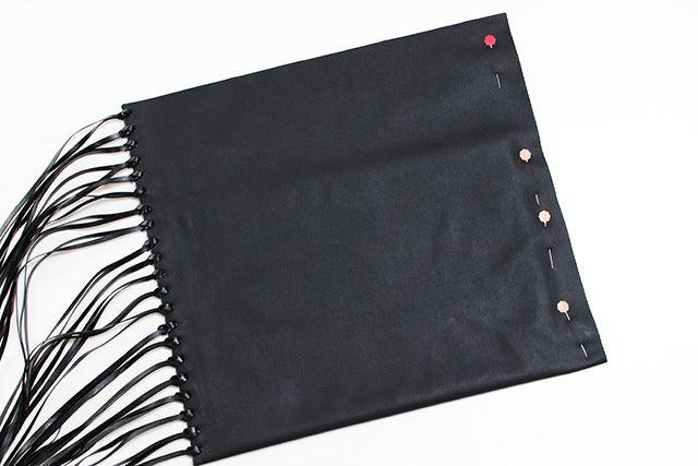 borse donna pochette frange fai da te con fettuccia ecopelle