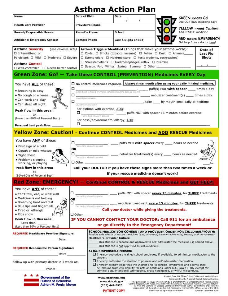 Printable Asthma Action Plan | Asthma Action Plan4 ...