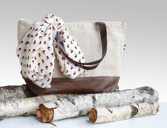 Cotton linen leather large diaper bag  eco friendly by dawnaparis, €55.00