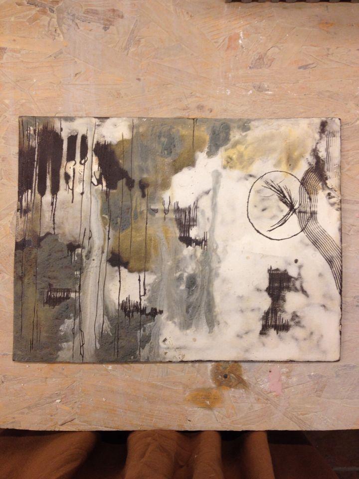 black clay-engobe- ceramic wall tablet 'work in progress'