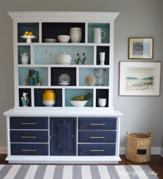 This old dining room hutch is painted Hale Navy HC 154 - love the combination of white & fresh blues.