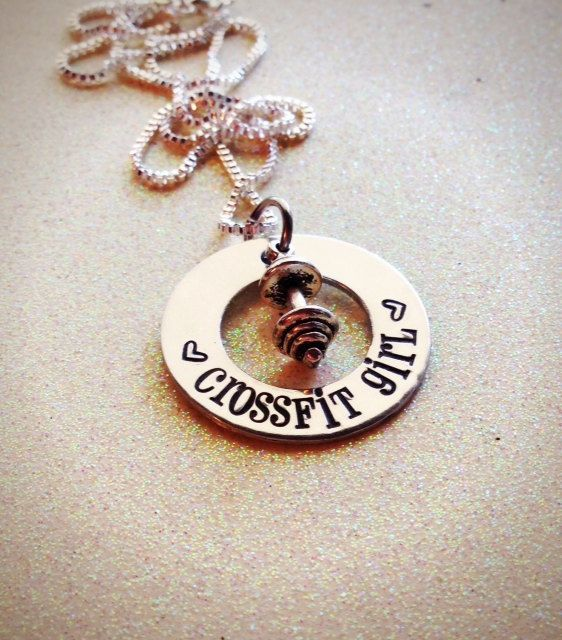 Hand Stamped Custom Crossfit Girl necklace by GabbieGoodies, $13.00