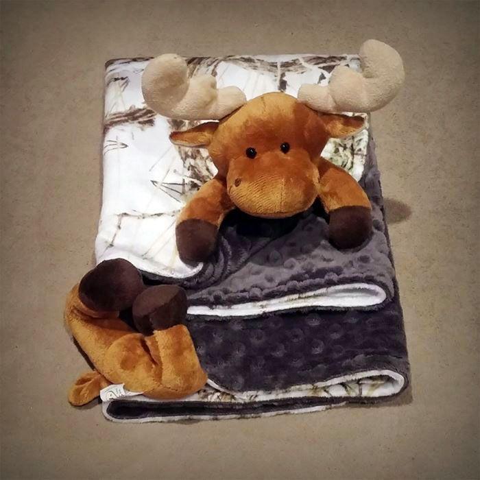 Minky Moose Snow Camo Baby Blanket