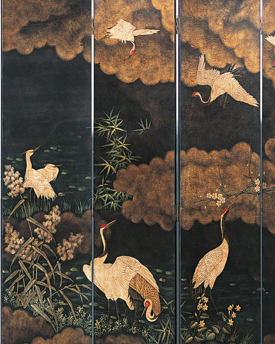 folding screens - Japanese style wooden folding screen with painted cranes and river