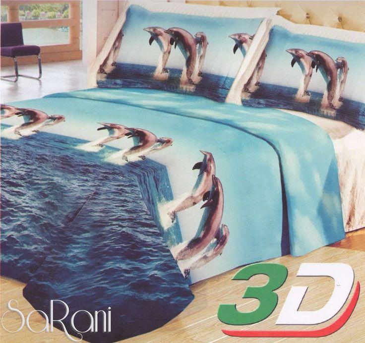 Trapuntino Primaverile Matrimoniale Delfini Celeste Stampa Digitale 3D SARANI
