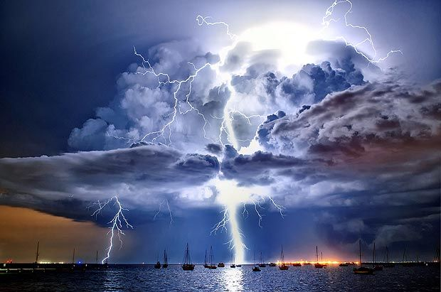 Australian weather calendar: lightning illuminates a cumulonimbus cloud over Corio Bay, Victoria