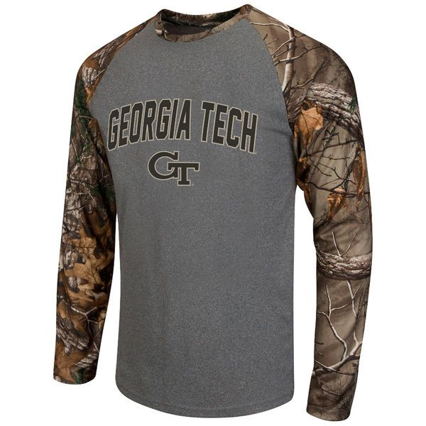 Georgia Tech Yellow Jackets Colosseum Break Action Long Sleeve Raglan T-Shirt - Heathered Gray/Realtree Camo - $39.99