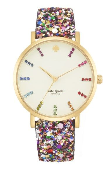 Free shipping and returns on kate spade new york 'metro grand' boxed watch set, 38mm at Nordstrom.com. Pavé crystal indexes and a glitter-encrusted strap give a fun, playful vibe to a round gold-plated watch. Temper the look for day by switching out the interchangeable strap for a smooth leather style. The set comes in a cute patterned box for easy gift giving.