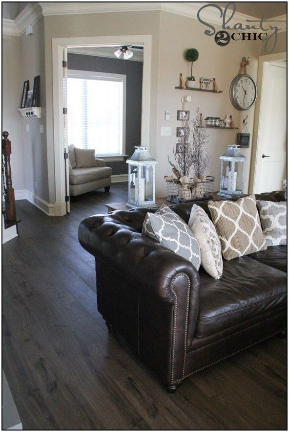 50 Amazing Farmhouse Home Decor Ideas To Get A Past Impression 33 Page 23 In 2020 Brown Leather Couch Living Room Brown Furniture Living Room Grey Furniture Living Room