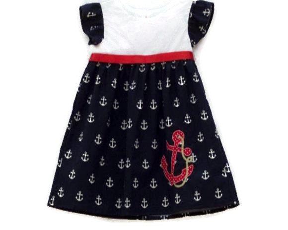 Nautical dress, sailor dresses, baby girls dress, nautical dress anchor…