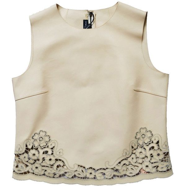 Dolce & Gabbana Beige Laser-cut Leather Top (12,495 MXN) ❤ liked on Polyvore featuring tops, beige, dolce gabbana top, leather top, beige top and laser cut top