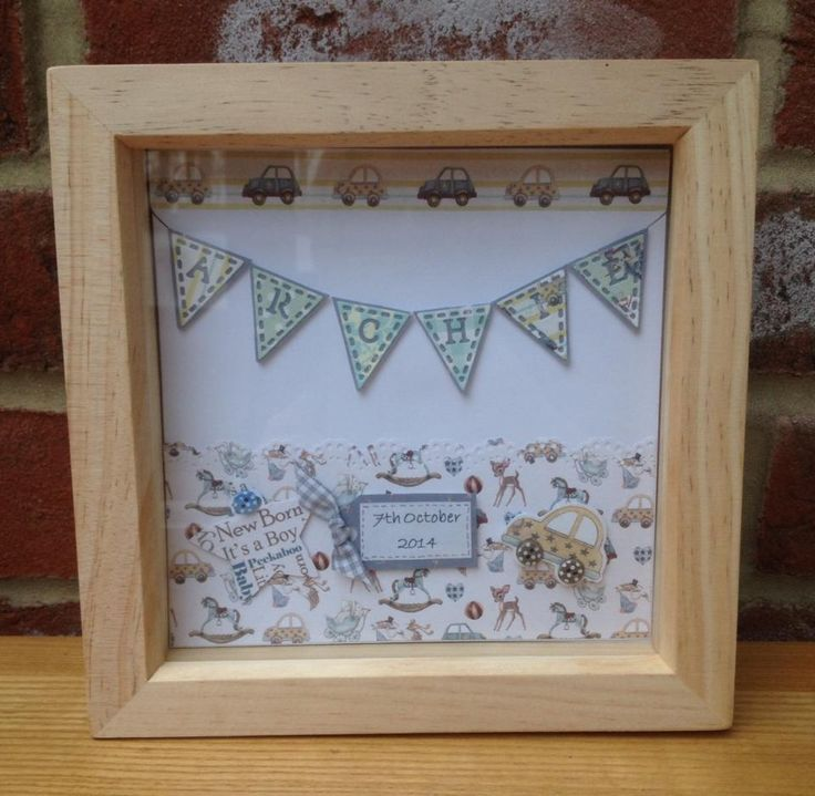 "Personalised Box Frame Picture - a beautiful and unique gift for a birth or christening. Frame size 6x6"". Made to order. £16 + £4 p&p"