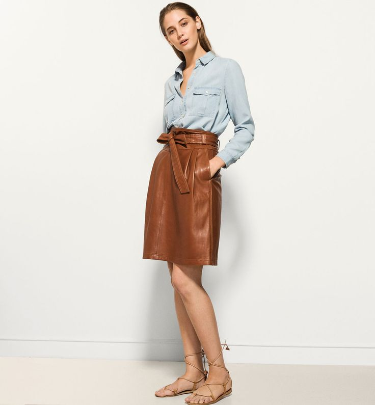 massimo dutti 1600 LEATHER SKIRT WITH BELT