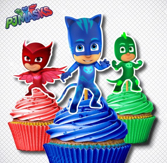PJ Mask Cupcake Toppers /Digital PJ Mask by FancymyCupcakeTopper