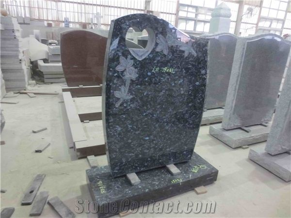 Blue Pearl Granite Gravestone Upright Headstone 06 From China Stonecontact Com In 2020 Blue Pearl Granite Blue Pearl Headstones