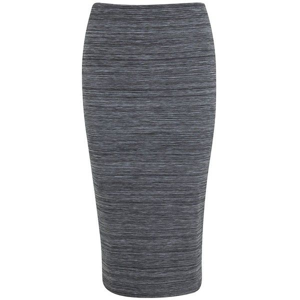 Miss Selfridge Space-Dyed Knit Pencil Skirt ($50) ❤ liked on Polyvore featuring skirts, grey, pull on skirt, long bodycon skirt, knee length pencil skirt, body con skirt and gray skirt