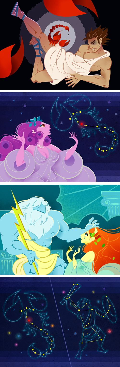 """""""Orion and Scorpio""""  Illustration for voice picture book ( iphone apps ). #orion #mythology"""