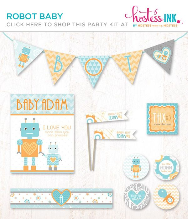 Robot Baby Shower for Pottery Barn Kids {+ FREE Printables!}